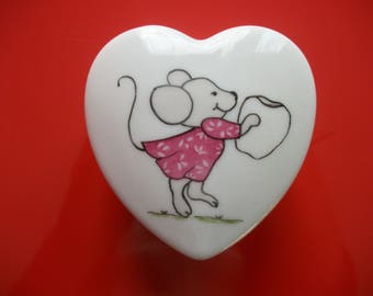 """Tooth box decorated with """"Mouse"""" to marry, box in Limoges porcelain box painted by hand, heart box,"""