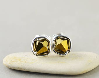 Gold Crystal Studs, Bicone Crystal, Gold Posts, Sterling Silver Studs