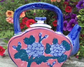 Vintage ceramic teapot oriental design Ben Rickert floral pink and blue