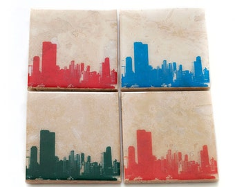Chicago Skyline Edition II Coaster Set (4 Stone Coasters, Red, Green, Blue, & Orange) Cityscape Home Decor