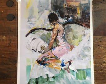 Color, Black & White, or Sepia Print/ Female Figure/ Elegant Woman Watercolor Print