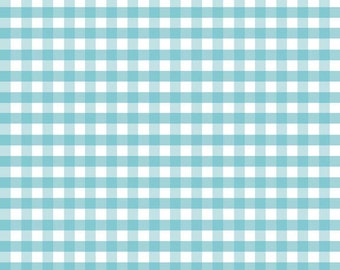 "Aqua White 1/4"" Quarter Inch Medium PRINTED Gingham - Riley Blake Designs - Blue Checker - Quilting Cotton Fabric - choose your cut"