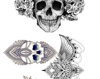 Skull, flowers, and owl temporary tattoo set- for your chest, arms/legs and under breast