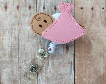 Baby Badge Clip ID Holder, Baby in Blanket, Boy or Girl, Choice of Skintones, Embroidered Vinyl, Retractable Badge Reel, Choice of Styles