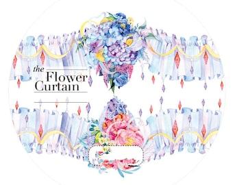 Flower Curtain  Washi Tape --Masking Washi Tape -Deco tape--35mm x10M