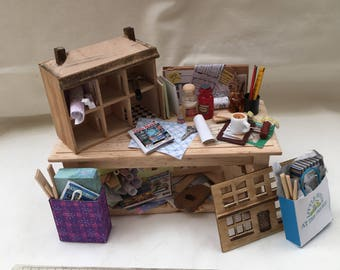 Dolls House Miniatures - Dolls House Making Table (Dark Wood)