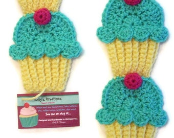 Cupcake Scarf  Buttercup Yellow Turquoise Berry Pink Cherry , Can add sprinkles with no added charge , crochet , Ready To Ship