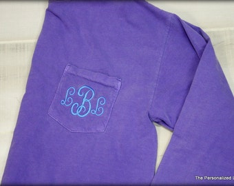 Comfort Colors Pocket TShirt Long Sleeve Shirt Monogrammed Personalized T-Shirt