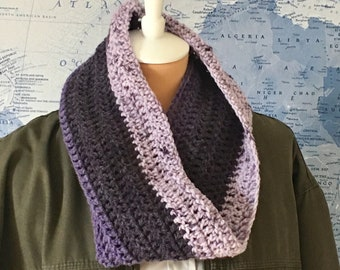 Crocheted Cowl or Infinity Scarf - Handmade - Purple and Lavender - Ready to Ship Wool & Acrylic Blend
