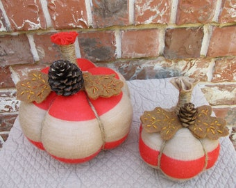 Sweater Pumpkins-Small Pair-Repurposed/Recycled-Fall Home Decor-Autumn Decorating-Thanksgiving Pumpkin-Housewarming Gift-Tabletop-Homemade-