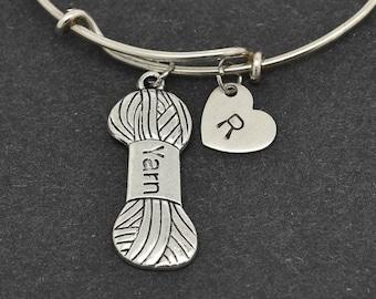 Yarn Bangle, Sterling Silver Bangle, Yarn Bracelet, Bridesmaid Gift, Personalized Bracelet, Initial Bracelet, Bridesmaid Gift, charm