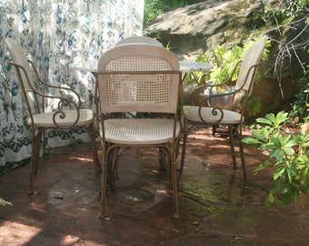 Marble patio table etsy drexel heritage wrought iron and marble table set inside or outpatio watchthetrailerfo