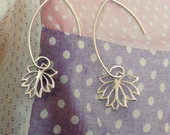 Silver lotus flower ear wires