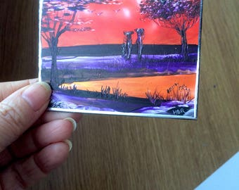 Africa Sunset Landscape ACEO Miniature Art Painting By Hazel Rayfield