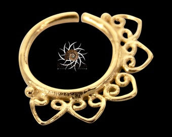 Gold Nose Ring - Gold Nose Hoop - Indian Nose Ring - Tribal Nose Ring - Nose Jewelry - Nose Piercing - Nostril Ring - Nostril Jewelry NL17GP