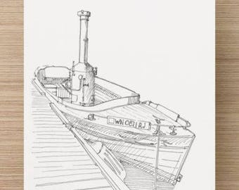 Ink Sketch of Puffin Steam Boat in Seattle, Washington - Drawing, Art, Steam Engine, Wood Boat, Lake Union, Pen and Ink, 5x7, 8x10, Print