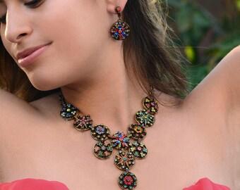 Rainbow Crystal Calypso Statement Necklace, Crystal Collar Necklace, Swarovski Crystal Flowers, Boho Gypsy Statement Jewelry N499