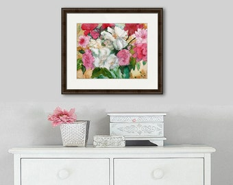 Watercolor Painting | flower paintings | rose art | rose paintings| peony paintings | floral PRINT | pink peonies peony flowers