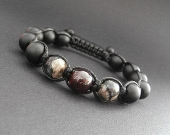 Bracelet shamballa men, matte black onyx stones, grey, Garnet, Opal Ø 10 mm