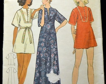 Vintage 70s Cover up Sewing Pattern Butterick 6659 Misses' Cover Up  Bust 32 Inches Size 10 Complete