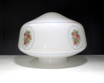 Vintage 1980s Milk Glass Light Fixture Replacement Shade Retro 80s Light Blue and Dusty Rose Pink Flower Pattern for Kitchen or Dining room