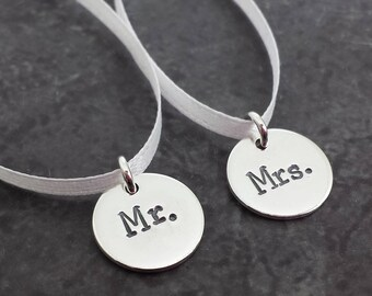 Mr and Mrs Charms - Sterling Silver Wine Charms - Wedding Charms - Bridal Shower Gift - Mr Mrs Wine Charms