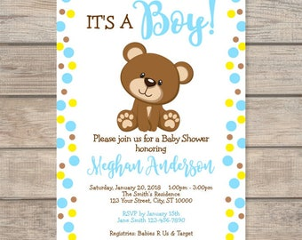 Teddy bear baby shower invitations etsy boy teddy bear baby shower invitation custom blue dots baby teddybear invite baby boy filmwisefo Choice Image