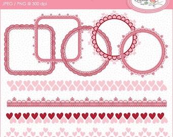 50%OFF Valentine digital frames, frame clipart, Valentine border clipart, digital borders, lace frames, frames cliparts, hand drawn frames,
