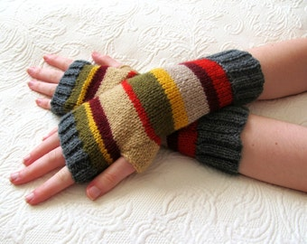 Mans 4th Doctor Who Inspired Fingerless Gloves