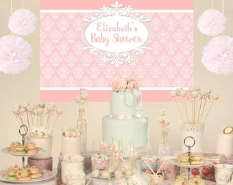 Vintage Personalized Party Backdrop - Birthday Cake Table Backdrop Birthday- Baby Shower Backdrop, Royal Backdrop