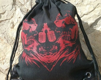 Backpack with drawstring of cotton-singing skulls