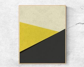 Gray and yellow wall art, Geometric wall art print, Large abstract wall art printable, Modern art print, Geometric print, Abstract art