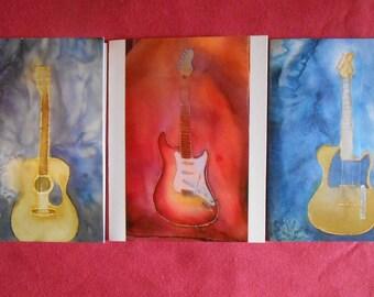 Guitars Greeting Cards Original Artwork 3-pack Assorted Designs with envelopes