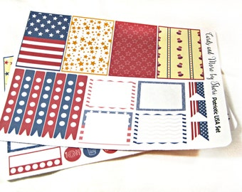 Planner Stickers - Weekly Planner Stickers - Happy Planner Stickers - Day Designer - Functional Stickers - Patriotic USA