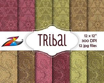 Labor Day Sale Tribal digital paper commercial use aztec pattern tribal background Abstract scrapbooking paper hand drawn textures paper