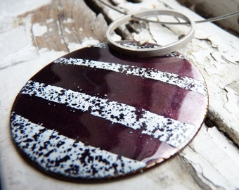 Striped Necklace, Purple and white enamels,  Sterling silver and copper