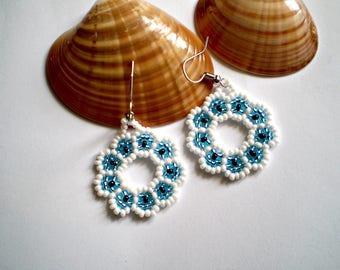 Round Flower Earrings Huichol Native American style earrings native american jewelry Huichol art earrings Native Beadwork Tribal Fashion
