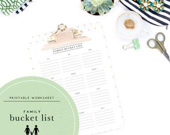 Printable Family Bucket List Worksheet