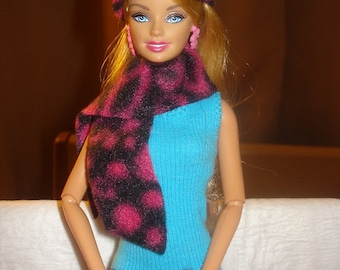 Fashion Doll Coordinates - Hot pink and black Leopard print hat, scarf and mitten set - es125