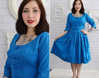 Vintage 1950s Jewel Tone Blue Silk Dress with Asian Inspired Accents by D'Alliards Size XS or Small