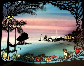Landscape Papercut Collage with Beagle - custom artwork with your favorite images