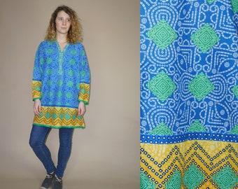 90's vintage women's blue-yellow traditional indian ethnic kaftan tunic