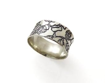 Wedding ring, silver wedding ring, Flowers silver wedding ring, Beauty and the beast ring, Wedding band, silver wedding band (gr9440-2022).