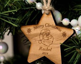Personalised Wooden Santa Star - Wooden Christmas Ornament, Santa Claus Decoration, Christmas Star Decorations, Christmas Santa Decorations.