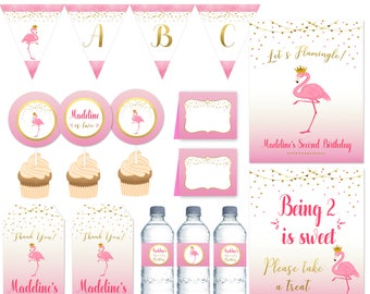 Flamingo party package, Gold and Pink Flamingo party printables, Flamingo Birthday Banner, Flamingo signs, Decorations PRINTABLE FILES