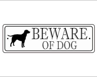 """Beware Of Dog Sign - 2.5"""" x 8"""", Labrador Retriever silhouette, - FREE SHIPPING"""