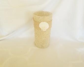 Cylinder Sand Covered Vase, Home Decor, Gift, Centerpiece, Floating Candle Holder
