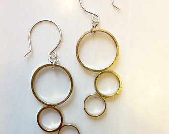 Gold Outline Thought Bubbles Earrings, Soldered Brass Circles, Sterling  Silver Ear Wires, Round Geometric, Minimalist, Mixed Metal