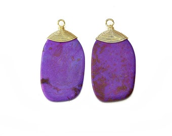 Purple turquoise etsy purple turquoise gemstone pendant jewelry craft supplies 16k polished gold plated over brass 2 pcs dg015 pg ptq aloadofball Gallery