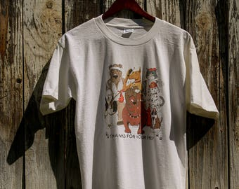 "Vintage 'thanks for your help"" animal shelter t-shirt"